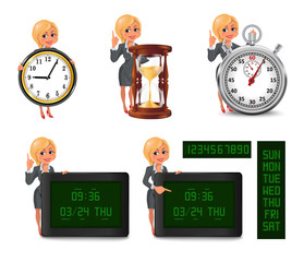 Set of smiling cartoon businesswoman points to the deadline. Girl in suit with clock, hourglass, stopwatch, digital clock and calendar. Vector illustration isolated on white background.