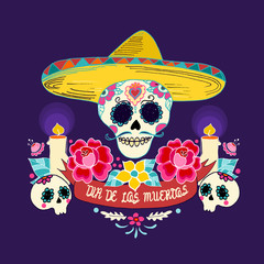 Mexican Dia de los Muertos (Day of the Dead) skull with flowersand candles, hand drawn vector illustration.