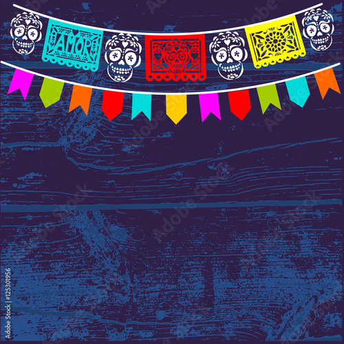 Dia De Los Muertos Mexican Day Of The Dead Background With Paper Cut Flags