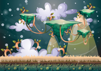 cartoon vector floating island background with separated layers for game art and animation game design asset in 2d graphic