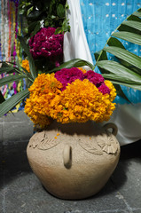 Colorful flowers. Part of a mexican day of the dead offering altar