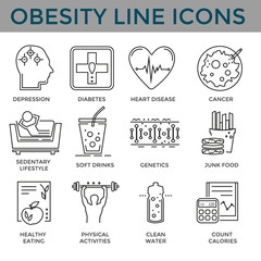 Concept of obesity, related  disease.Black clean icons set