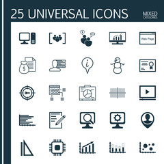 Set Of 25 Universal Editable Icons. Can Be Used For Web, Mobile And App Design. Includes Icons Such As Laptop, Market Research, Schedule And More.