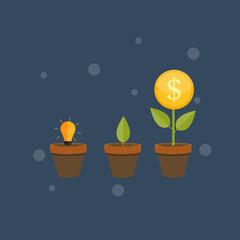 Money Tree, Financial Growth Flat Concept Vector Illustration