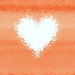 Soft light red orange diffuse abstract heart frame