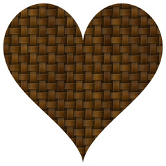 Knit brown homely heart on white background