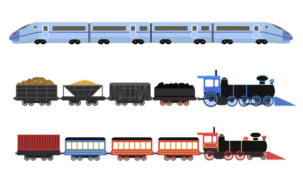 Collection of railway locomotives, passengers wagons and speed trains