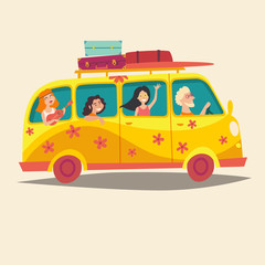 Bus with traveling happy people. Hippie on  camper bus. Woodstock lifestyle. Cartoon style vector illustration, isolated