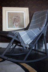 Rocking chair with a checkered plaid