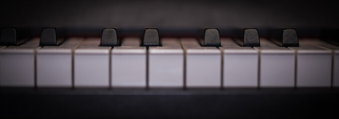 piano keys close-up, musical instrument