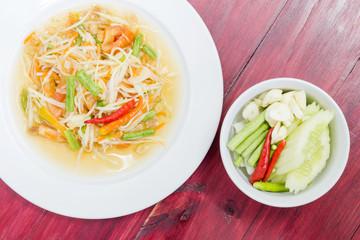 Thai style spicy food. papaya salad Thailand food. Som Tum Thai.