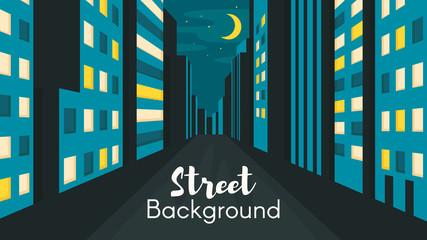 Flat style illustration of night city street.
