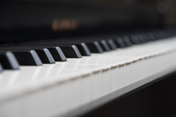 Black piano close-up