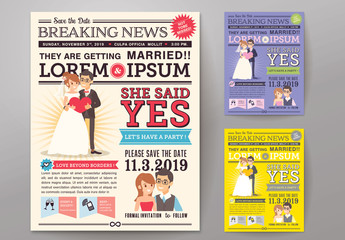 Newspaper Journal Wedding Invitation 02