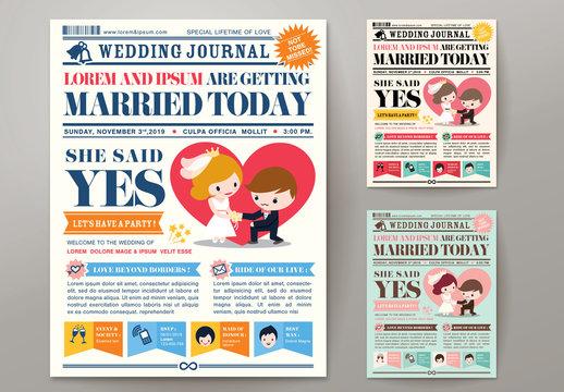Newspaper Journal Wedding Invitation 01