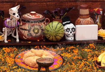 Skull on an alter at Dia de los Muertos, Day of the dead, in Los Angeles.