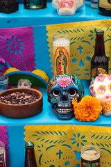 Skull on an alter at Dia de los Muertos, Day of the dead, in Los Angeles.