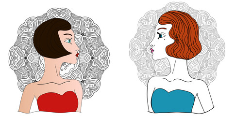 Two vector colored retro black and brownheaded girsl looking at one another.