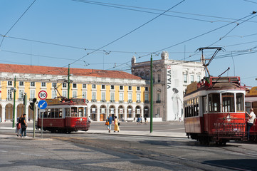 Commerce Square in Lisbon with statue and landmarks