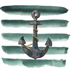 Watercolor retro anchor with rope on striped background. Vintage illustration isolated on white background. For design, prints or background