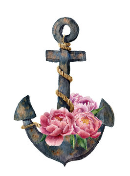 Watercolor retro anchor with rope and peony flowers. Vintage illustration isolated on white background. For design, prints or background