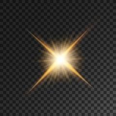 Gold bright star light flash