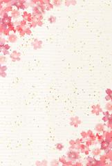 和紙 桜 年賀状 背景