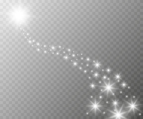 Vector glowing stars, lights and sparkles. Transparent effects