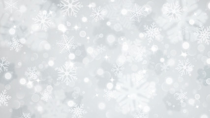 Christmas background of fuzzy and focused snowflakes Wall mural