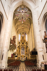 Krakow, Poland - October 2, 2016: The  altar in the church of St