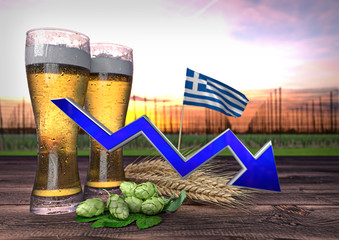 beer consumption in Greece. 3D render