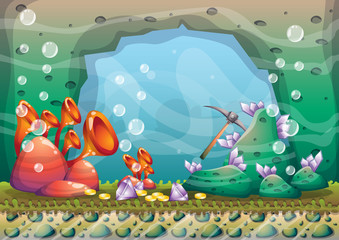 cartoon vector underwater treasure background with separated layers for game art and animation game design asset in 2d graphic