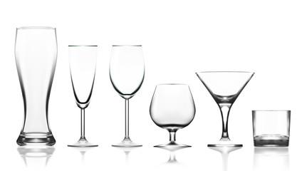 Big Set Of Transparent Glass Goblets
