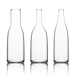Transparent White Empty Glass Bottle Set