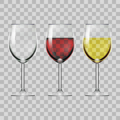 Transparent Glass Full Of Red, White Wine, And Empty