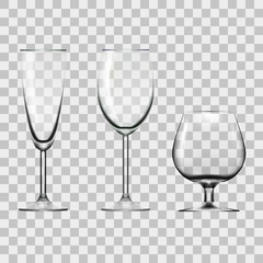 Transparent Empty Wine, Champagne And Cognac Glass Isolated On White