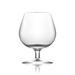Transparent Empty Cognac Glass Isolated On White