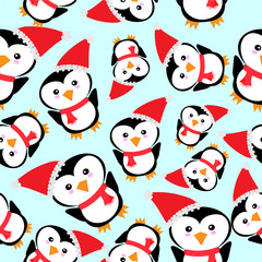 Seamless background of Christmas illustration with cute penguin with Santa hat on blue background suitable for wallpaper, postcard, and scrap paper