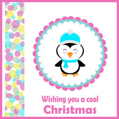 Christmas illustration with cute penguin on pink frame suitable for children Xmas card, wallpaper, and postcard