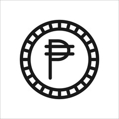 Peso coin symbol line icon on background
