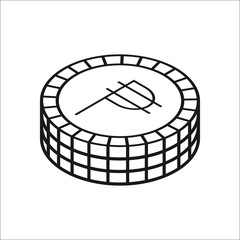 Peso coins symbol line icon on background