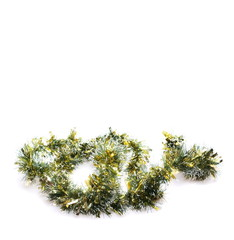 Christmas green tinsel, isolated on white background