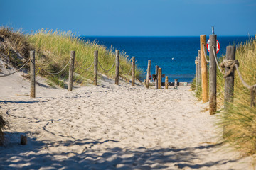 Sandy beach in Leba town, Baltic Sea, Poland