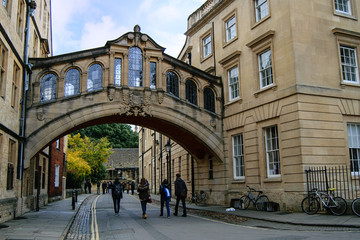 Bridge of Sighs in Oxford, UK