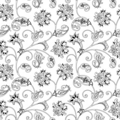 Floral ornamental seamless pattern. Flourish  arabic background.