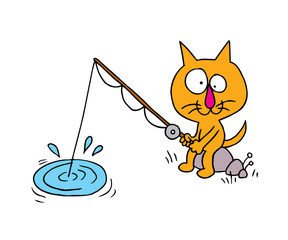 cartoon cat character fisherman, sport and outdoor activity fishing vector illustration
