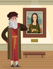 mona lisa gioconda da vinci painting cartoon in museum