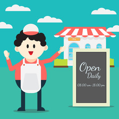 Cute cartoon Shopkeeper character in front of shop with black board open daily sign: vector illustration