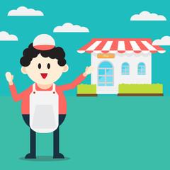 Cute cartoon Shopkeeper character front of shop : vector illustration