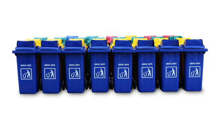 Large blue trash cans (garbage bin) with wheels